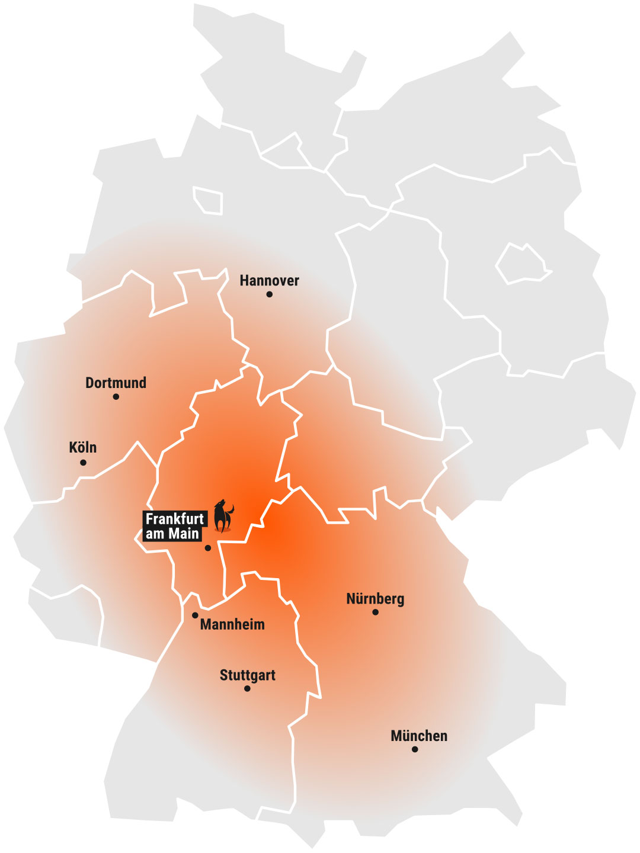 Reifen Center Wolf Liefergebiet Karte
